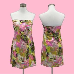 H & M strapless Dress Tropical Plant Design